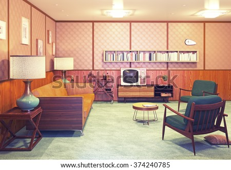beautiful retro interior at the evening. 3d rendering - stock photo
