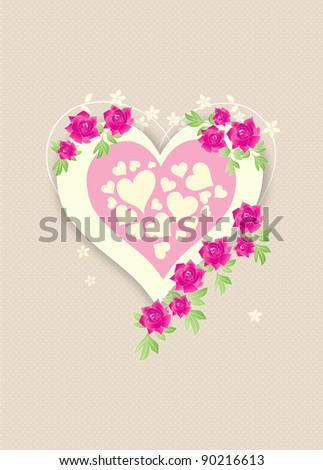 Beautiful retro love heart with pink roses on beige polka dots background - stock photo