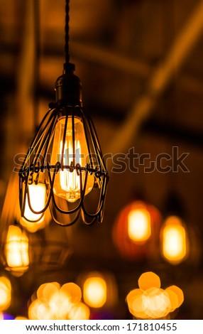 Beautiful retro luxury interior lighting lamp decor - stock photo