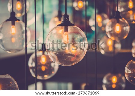 Beautiful retro luxury light lamp decor glowing - stock photo