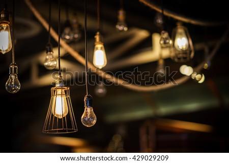 Beautiful retro luxury light lamp decor glowing - stock photo