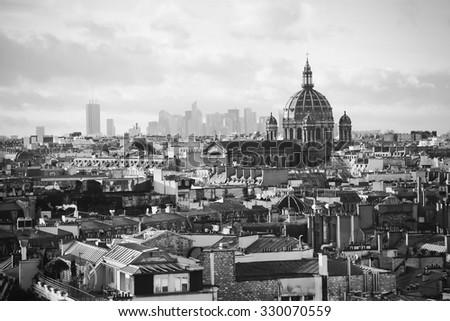 beautiful retro view of  Paris  - stock photo
