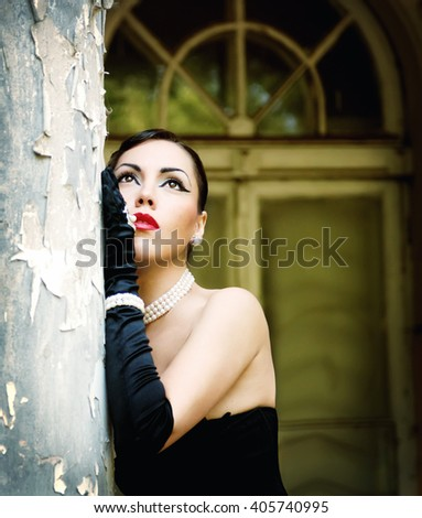 Beautiful retro woman portrait with lips red colour - stock photo