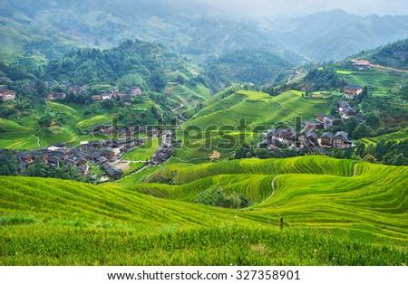 Beautiful rice terraces in Longji - China - stock photo