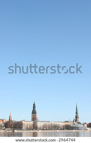 Beautiful Riga city (Latvia). Cityscape and blue sky.