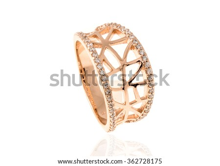 beautiful ring with diamonds isolated on white...