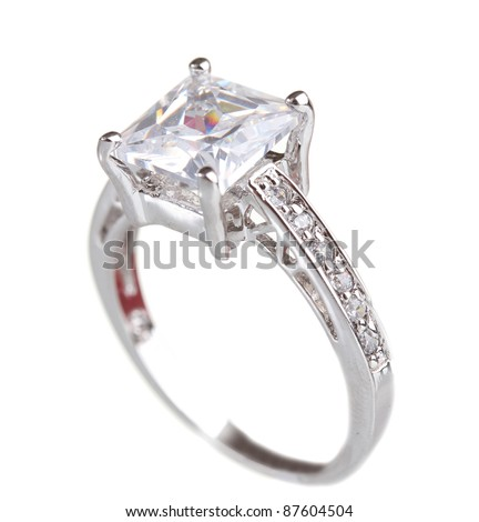 beautiful ring with gem isolated on white - stock photo