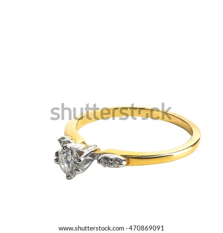Beautiful ring with gemstone and diamonds isolated on white