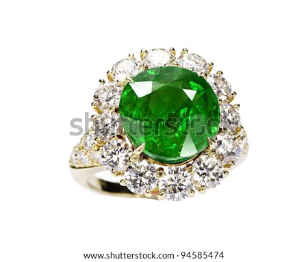 beautiful ring with green gem isolated on white - stock photo