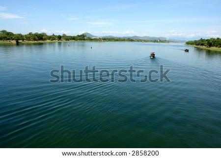 Beautiful river landscape - stock photo