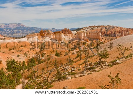 Beautiful rock formation - Hoodoos  in Bryce Canyon National Park. Utah, USA - stock photo