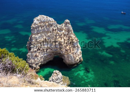 beautiful rock formations in the Atlantic Ocean, the province of Algarve, Portugal - stock photo
