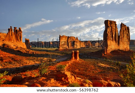 Beautiful rock pedestals in Arches National Park, Utah. - stock photo