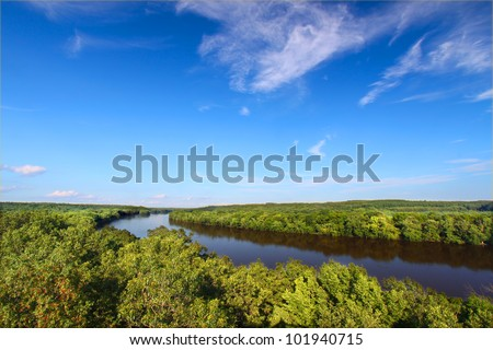 Beautiful Rock River Valley from Castle Rock State Park in northern Illinois - stock photo