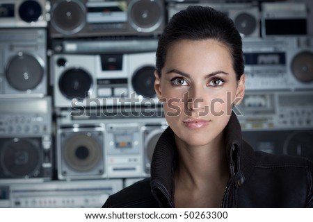 Beautiful rock woman with Boom Box background