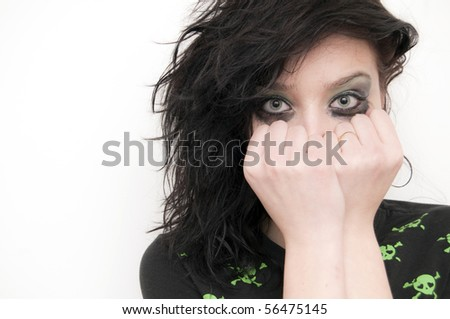 Beautiful Rocker Girl crying - stock photo