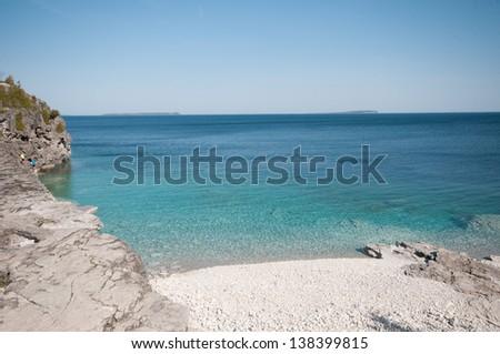 Beautiful rocky shore of Georgian Bay, Ontario, near Tobermory Ontario - stock photo