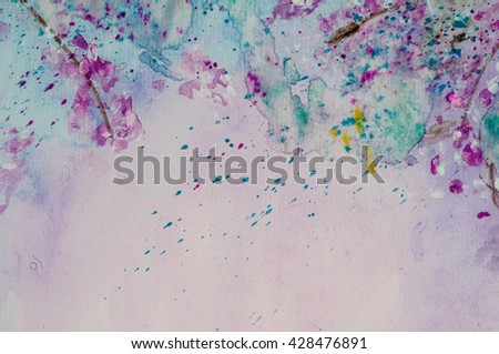 Beautiful romantic background, artistic texture with purple and pink stains,look like flowers. Watercolor. Illustration - stock photo