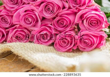 beautiful romantic bouquet of Ecuadorian pink roses - stock photo