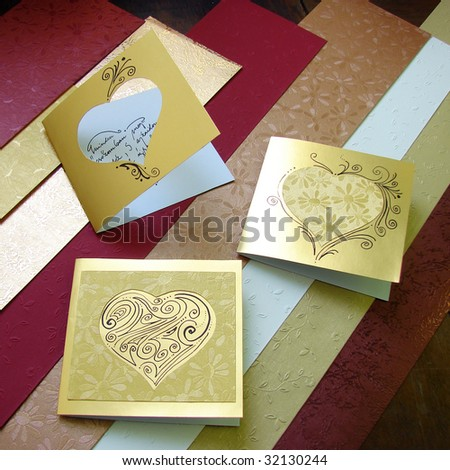 Beautiful romantic greeting cards on textured stock photo royalty beautiful romantic greeting cards on textured papers background handmade self made m4hsunfo Gallery
