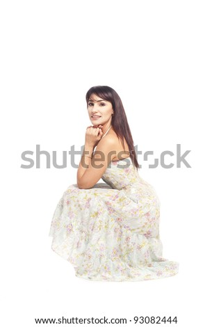 Beautiful Romantic healthy Woman spring portrait isolated white background in studio - stock photo
