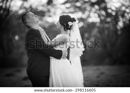 beautiful romantic luxury caucasian bride and groom on the background sunset in the forest, ukraine
