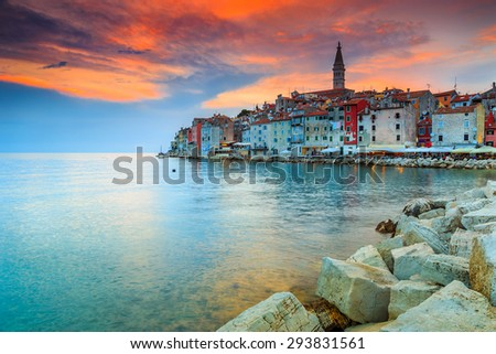 Beautiful romantic old town of Rovinj with magical sunset,Istrian Peninsula,Croatia,Europe - stock photo