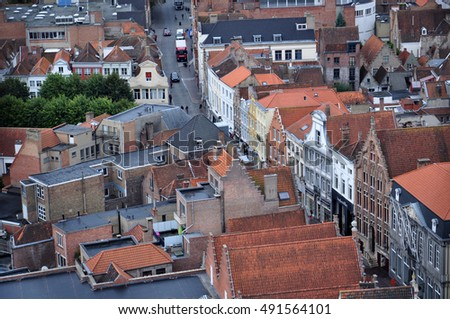 Beautiful roof top view - Brugge city