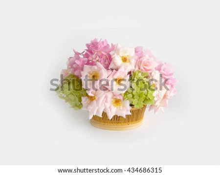 Beautiful rose and hydrangea flower background