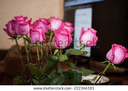 Beautiful rose bouquet on vase on the table