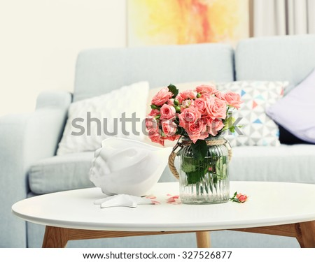 Beautiful Rose Vase On Table Room Stock Photo Edit Now 327526877