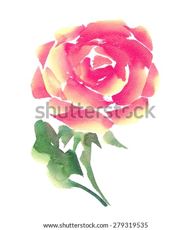 Beautiful rose. Watercolor. Hand painting illustration, artwork. Happy Valentines day.  Love concept for wedding invitations, cards, tickets, congratulations, branding. Gift for young girl and women - stock photo