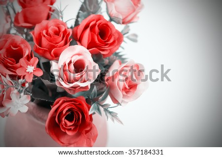 beautiful roses in a pot vintage style - stock photo