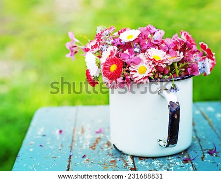 Beautiful Roses in vase in vintage style/ beautiful holiday flowers background - stock photo