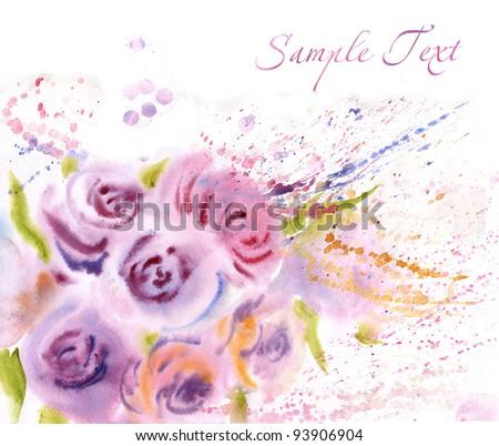 Beautiful roses. Watercolor painting - stock photo