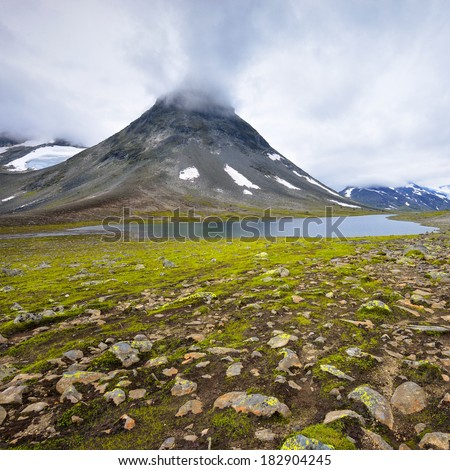 Beautiful rural landscape deep in norwegian mountains, - stock photo