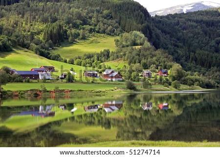 Beautiful rural landscape deep in norwegian mountains, Scandinavian Europe. - stock photo