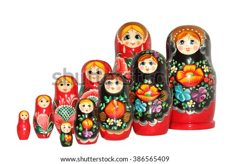 beautiful Russian matreshka doll on white background