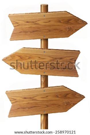 beautiful rustic wood arrow sign isolated on white background - stock photo