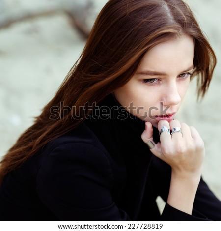 Beautiful sad girl - stock photo