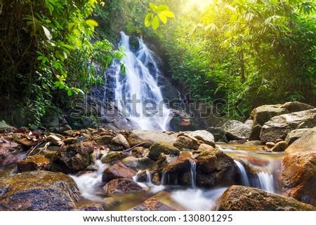 Beautiful Sai Rung waterfall in Thailand - stock photo