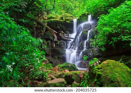 Beautiful Sai Thip Waterfall  Phu Soi Dao National Park, Uttaradit Asia Thailand - stock photo