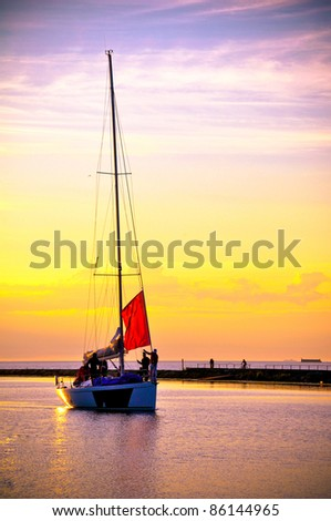beautiful sailboat - stock photo