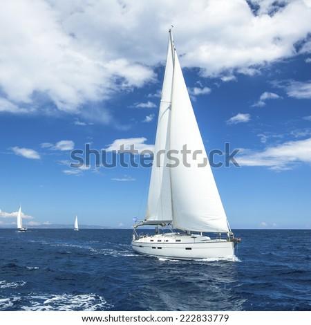 Beautiful sailboat on the open sea. Luxury cruise yacht. - stock photo