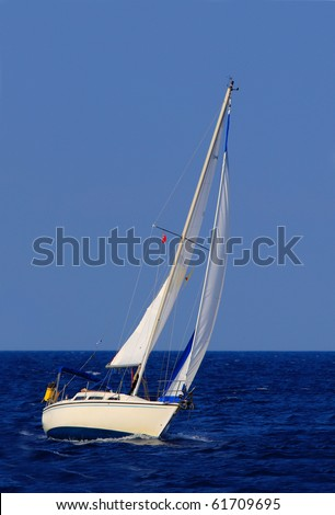 beautiful sailboat sailing sail blue Mediterranean sea ocean horizon