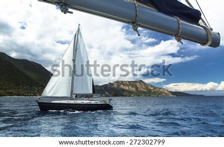 Beautiful sailboats on the sea. Luxury cruise yacht. - stock photo