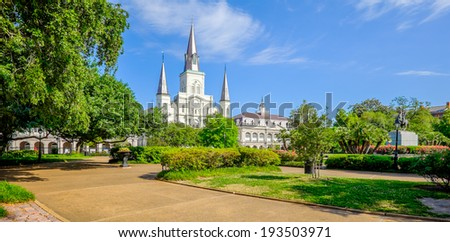 Beautiful Saint Louis Cathedral in the French Quarter in New Orleans, Louisiana. - stock photo