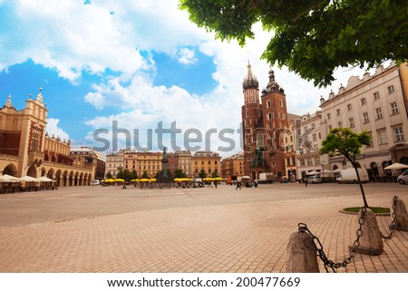 Beautiful Saint Mary's Basilica and Rynek Glowny - stock photo