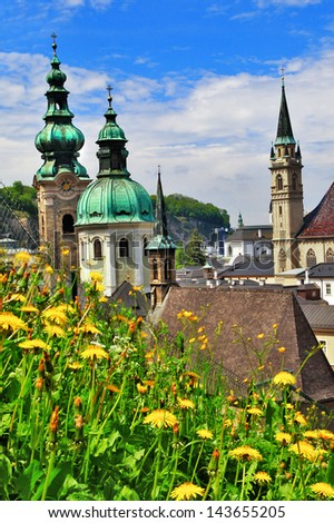 beautiful Salzburg in spring - stock photo