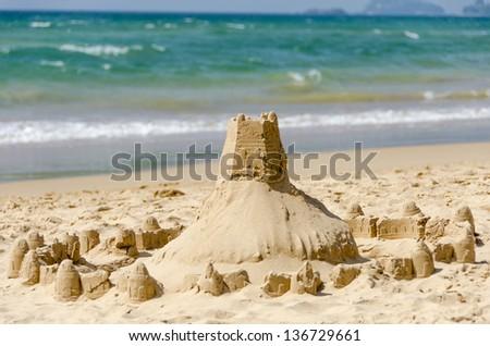 beautiful sand castle - stock photo